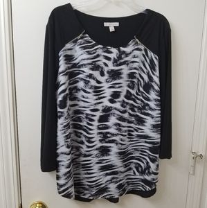 Dress Barn XL, 3/4 sleeve blouse.
